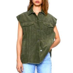 Zara Oversized Green Corduroy Vest
